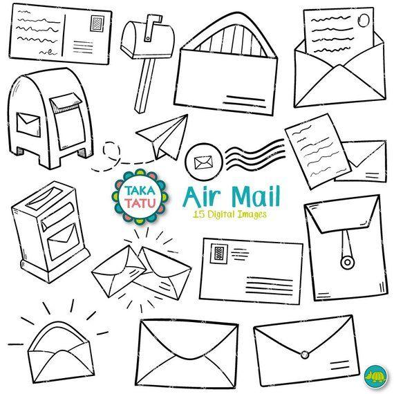 Air Mail Digital Stamp Air Mail Clipart Mail Doodles Etsy Envelope Stamp Envelope Art Postcard Stamps