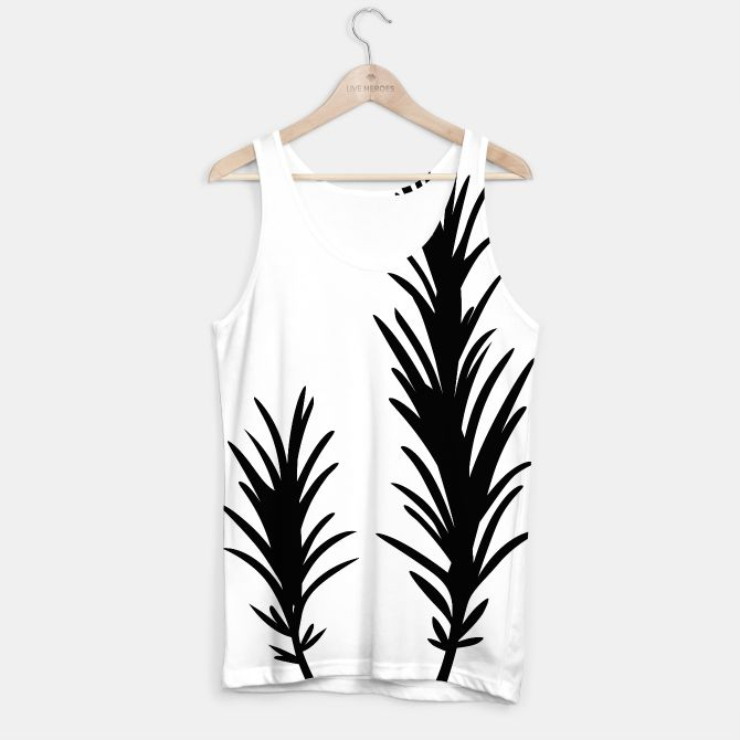 Tank Top with Rosemary Drawing black