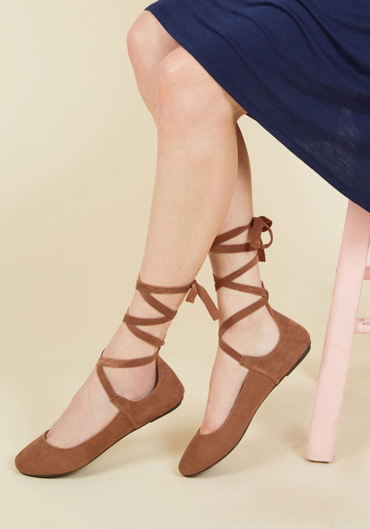 Come Ballet With Me Flat - Brown, Solid, Cutout, Work, Casual, Minimal, Darling, Fall, Flat, Good, Brown, Saturated, Lace Up