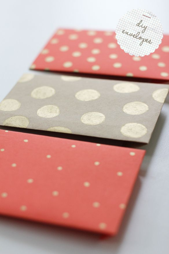 DIY envelopesEnvelope Templates, Homemade Envelopes, Ideas, Diy Stationary, Polka Dots, Gift Cards Wraps, Diy Crafts, Diy Envelopes, Paper Crafts