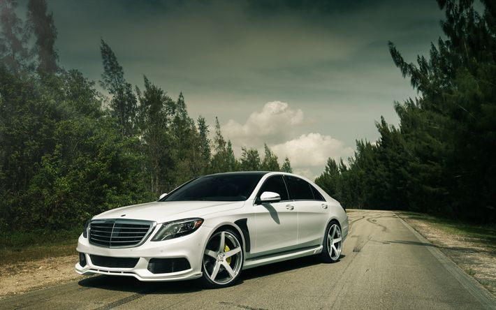 Download imagens Mercedes-benz S-class, 2017, ajuste, sedan de luxo, Branco S-classe, W222, Mercedes S63 AMG, Mercedes