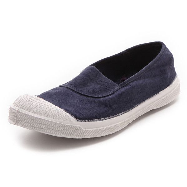 Bensimon Tennis Elastique Sneakers ($59) ❤ liked on Polyvore featuring shoes, sneakers, navy, canvas slip on sneakers, tennis sneakers, navy trainers, slip-on sneakers and canvas trainers