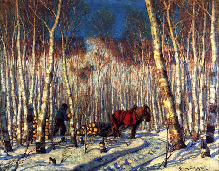 March in the Birch Woods (1919) - Clarence Gagnon - (Canadian, 1881 - 1942) Follow the biggest painting board on Pinterest: www.pinterest.com/atelierbeauvoir