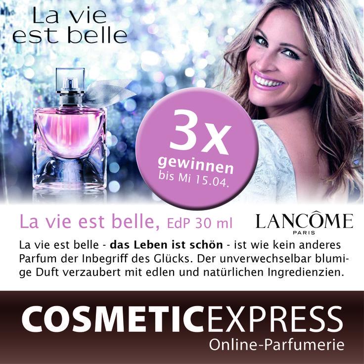 Sei dabei bei unserem #Gewinnspiel und gewinne einen von 3 La vie est belle Düften von Lancôme https://www.facebook.com/CosmeticExpressCom