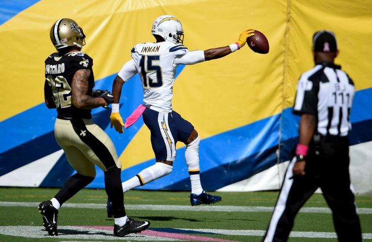 Saints vs. Chargers Updated October 2, 2016  -  35-34:      San Diego Chargers wide receiver Dontrelle Inman, center, scores a touchdown in front of New Orleans Saints strong safety Kenny Vaccaro, left, during the first half of an NFL football game Sunday, Oct. 2, 2016, in San Diego.