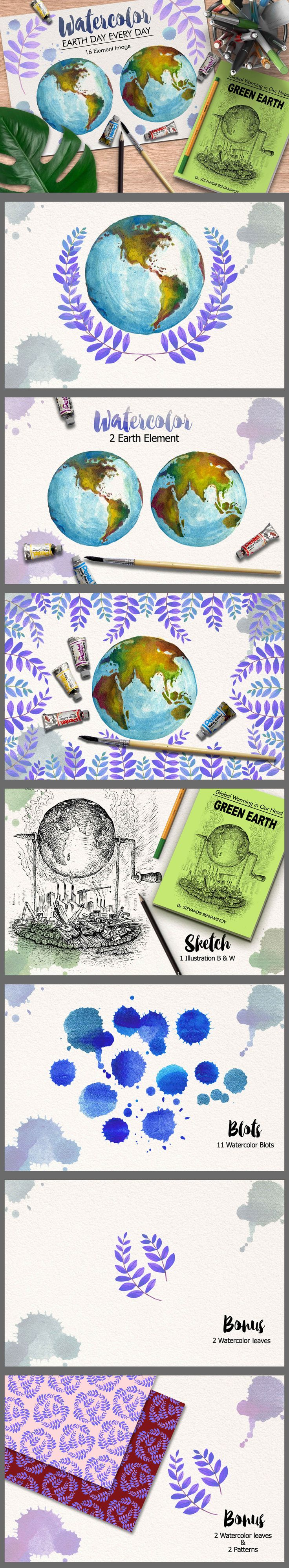 Watercolor Earth by iGRAPHOBIA on @creativemarket