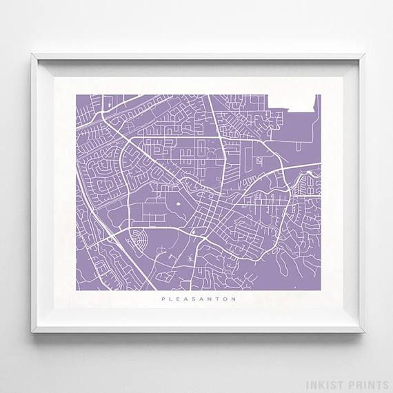 Pleasanton, California, Street Map Wall Art Poster - 70 Color Options - Prices from $9.95 - Click Photo for Details - #streetmap #map #homedecor #wallart #Pleasanton #California