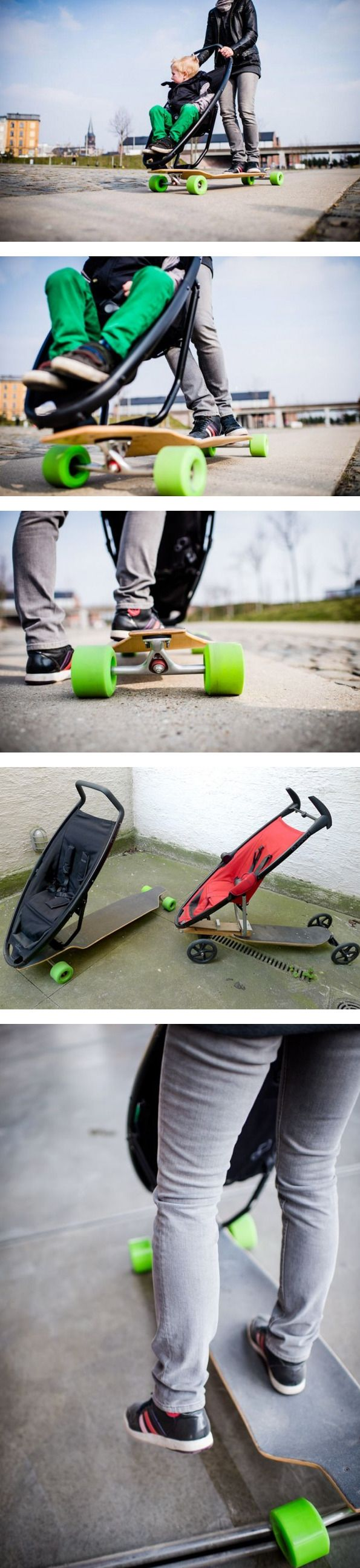 Longboard Stroller, an Urban Mobility Concept For Cool Parents This looks like something Rachael would use later on in life!