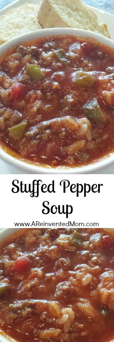 Stuffed Pepper Soup | A Reinvented Mom. Made this today and it is awesome!! No need to add the sugar called for in the recipe. I used a 32 ounce box of beef broth and added 1.5 cups of rice during last 5 minutes of cooking so it would pick up the flavor. (Rice was cooked in chicken stock because I had some on hand).11-20-16 CB