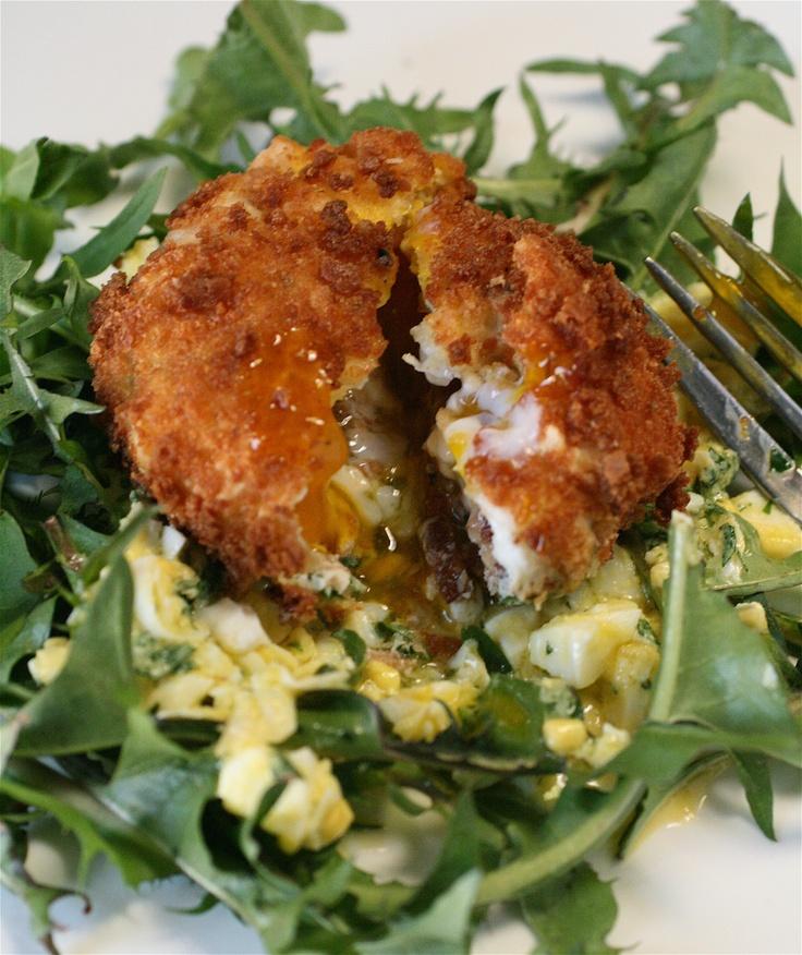 Deep-Fried Bacon and Egg Salad with Lemon Vinaigrette