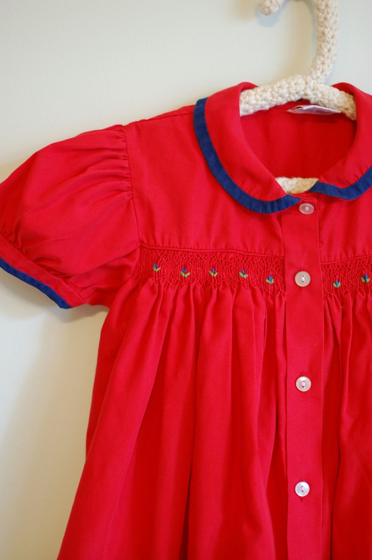 RED and BLUE girls SMOCKED dress with tiny by dahliadaffodil
