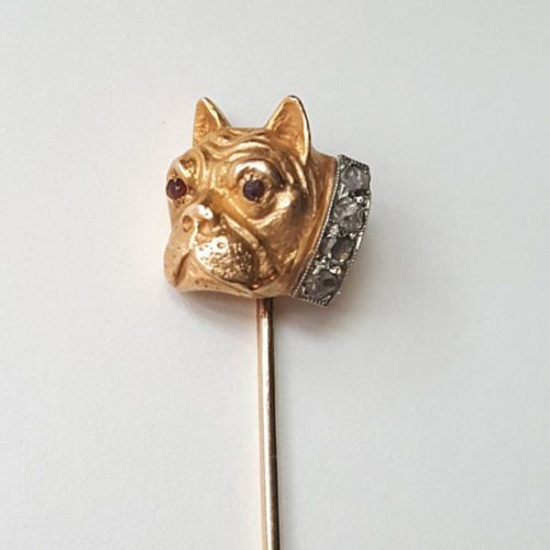 Antique Victorian Bulldog Stick Pin-Gold w.Diamond-Collar