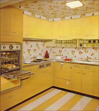 yellow 1950's kitchen