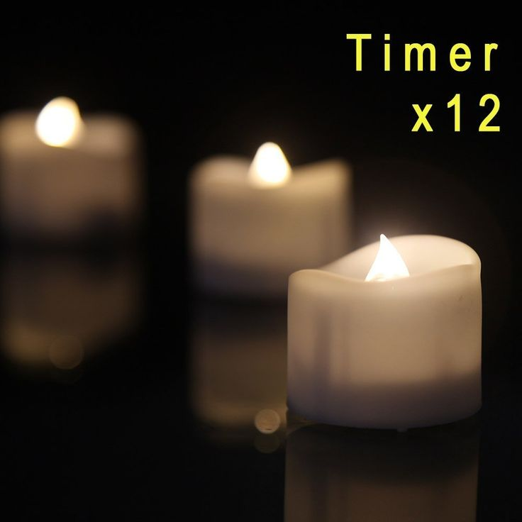 """Flameless Candle eLander™ [With Timer Function] LED Tea Lights Candles- 12 Warm White Flickering Flameless Tealight with Timer, 6 Hours on and 18 Hours Off in 24 Hours Cycle, Dia. 1.4""""x1.6"""" Height, Battery Powered"""