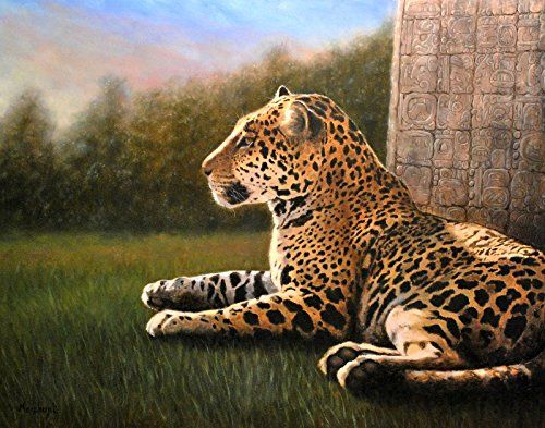 Jaguar Original Oil Painting Glyph by Linda Merchant, 11x14 inches Fine Art Hand Painted Oil Painting Wildlife Cat ooak. This is an original oil painting by Linda Merchant. The painting is on archival Ampersand Gessobord panel, so it can be framed without glass in most frames of the correct size. (The glass can be removed from most frames, and the rigid panel can be inserted instead.) Glyph - Jaguar 11x14 inches, oil on panel. Unframed. Linda Merchant has exhibited in both regional and...