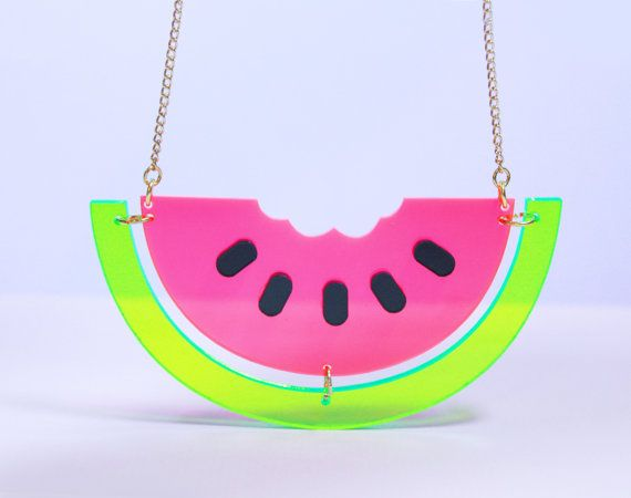 Perspex Watermelon Necklace. Laser cut and hand crafted watermelon necklace, made from transparent pink, green and black perspex.