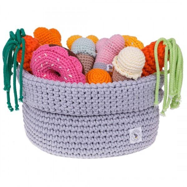 Szydełkowy koszyczek na psie zabawki... Cottondog.pl Ręcznie robione zabawki i akcesoria dla psów i kotów.  Crochet