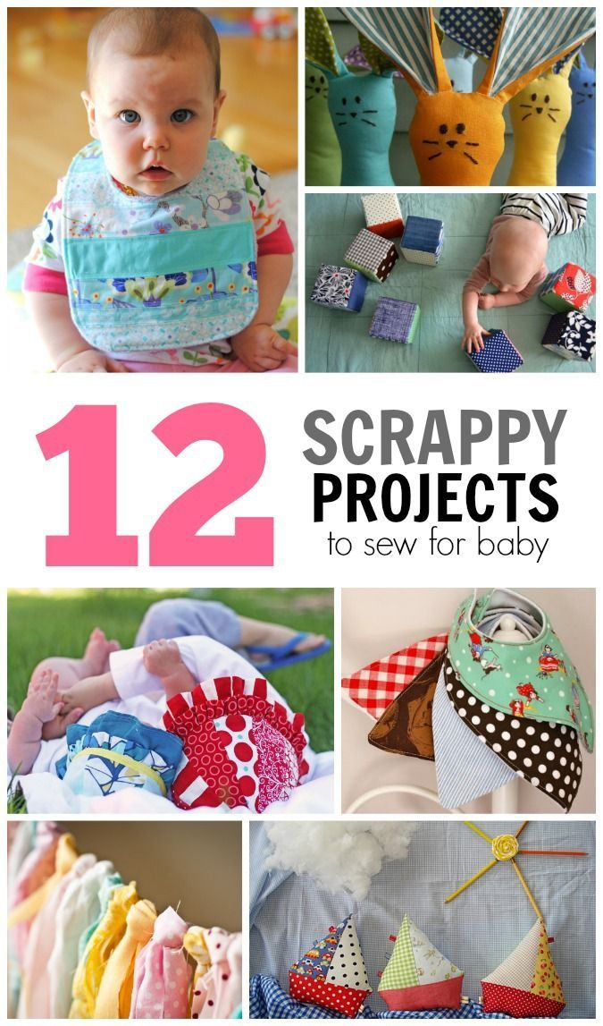 12 scrappy projects to sew for baby with links to free tutorials #babygifts