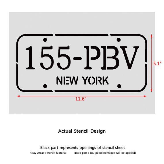 Car Number plate stencil New York for por JboutiqueStencils en Etsy