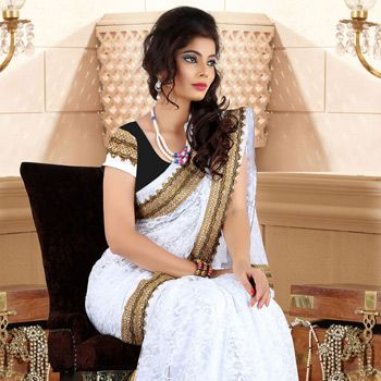 Off White #Saree with Blouse
