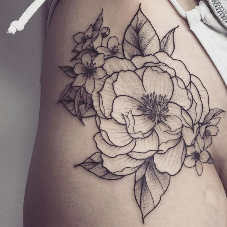 flower side hip tattoos - photo #42