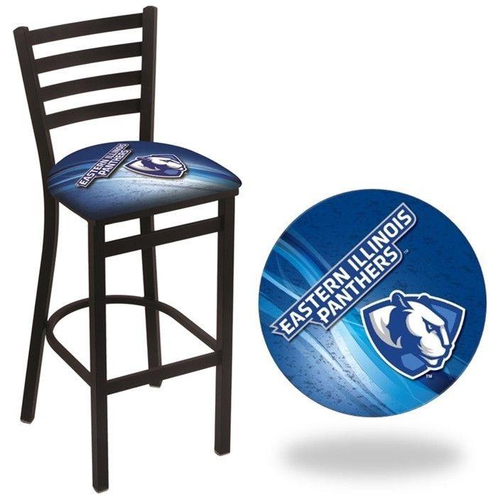 Eastern Illinois Panthers D2 Stationary Ladder Back Bar Stool.  Visit SportsFansPlus.com for Details.
