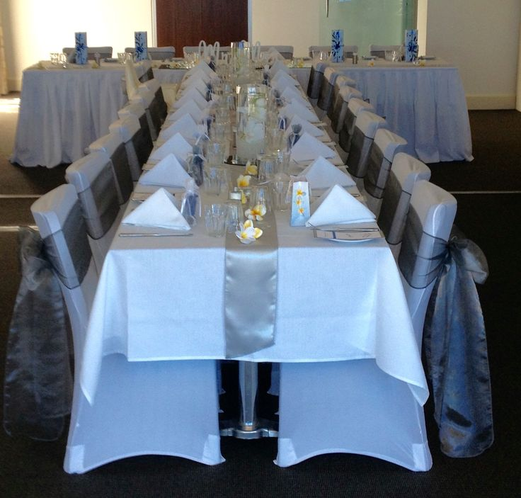 T shape table setting, perfect for small intimate wedding.