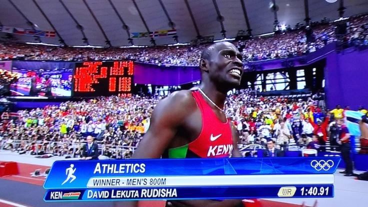 800 Meter Weltrekord am 9.8.2012 von David Lekuta Rudisha in Min 1:40,91