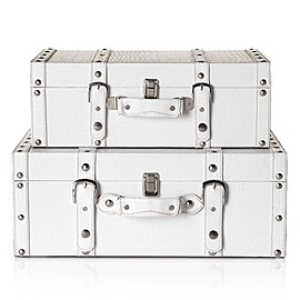 Storage Suitcases 2 for $59.95: Suitcases Trunks, Open Closets, White Suitcases, Old Suitcases, Storage Suitcases, Decor Storage, Bedside Tables, Veneto Suitcases, Closets Dresses Room