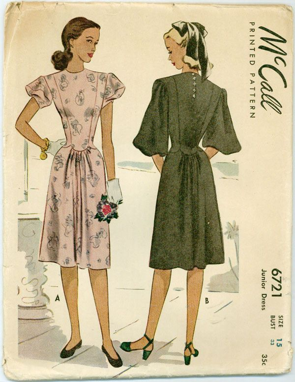 """A lovely dress sized for juniors with a high round neckline, scalloped waist detail, and puff sleeves in two lengths. Copyright 1946. SIZE: 15 BUST: 33"""" WAIST: 27"""" HIP: 36"""" CONDITION All patterns are"""