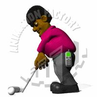 Man Putting Golf Ball Animated Clipart