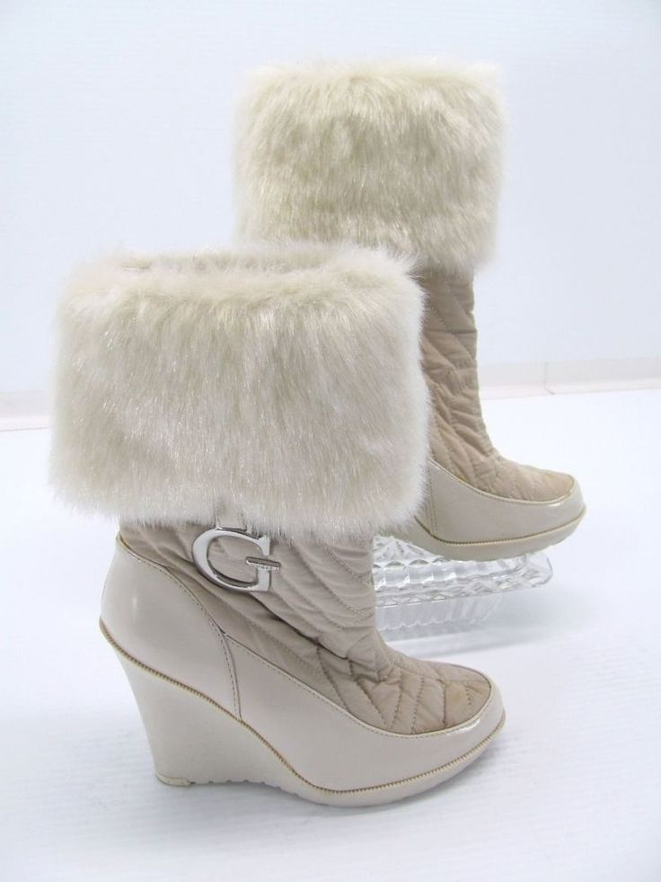 G GUESS MARCIANO Women Beige Quilted Rubber Wedge Faux Fur Mid Calf Boot 5.5 #X5 #GUESS #FashionMidCalf #WalkingHiking