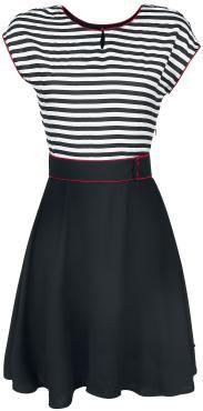 "Pussy Deluxe Medium-lengte jurk, Vrouw ""Stripey"" zwart-wit • Large"
