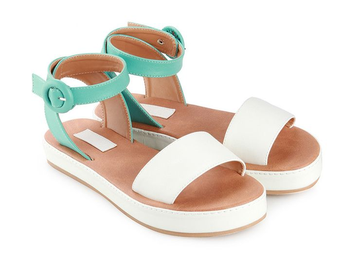 Daily Sandals design by Proudly Shoes. Strappy sandals with ankle strap, made from synthetic leather, with a combination of turquoise and white color, open toe, wide strap, ankle strap with buckle fastening, synthetic leather insole. These good shoes will lead you to good places http://www.zocko.com/z/JJQYi