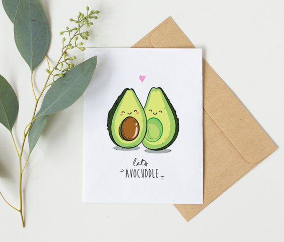 Let's Avocuddle! A #handmade greeting card by BeccyKittyDesigns :) #avocado #vegan #avocuddle #veganfood #etsy #valentinesday #netflixandchill #avocadolove #avocadoillustration #greetingcards #handmade #anniversary #avocado #beccykittydesigns