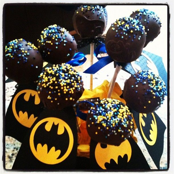 Cake pops. So much easier if the Batman logo is on paper, and the pops is only sprinkles