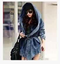 [TWOTWINSTYLE] 2016 Autumn Cardigan Windbreaker Lace Up Bandage Hooded Cloak Denim Jean Jacket Women Coat Oversized New Fashion(China (Mainland))