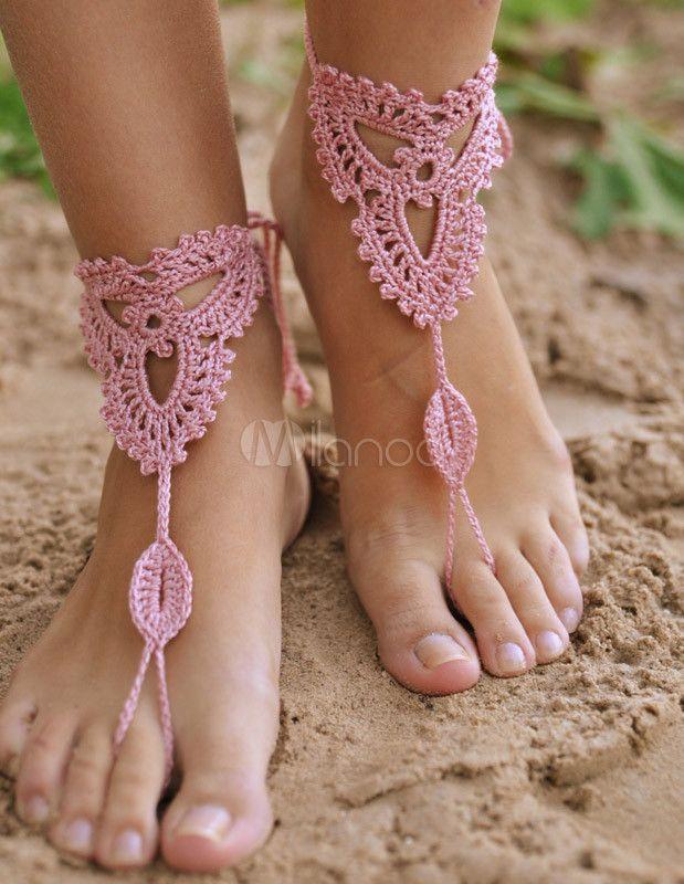 Bordare Sexy rosa all'uncinetto sandali a piedi nudi di donne