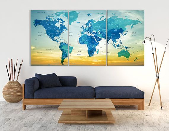 10 best watercolor world map canvas images on pinterest world map push pin world map canvas print triptych wall art watercolor gumiabroncs Image collections