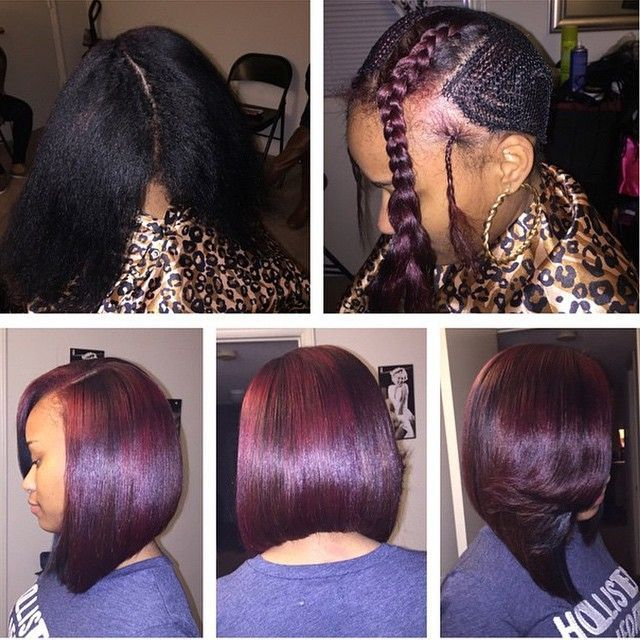 STYLIST FEATURE| Love this #sewin #transformation and dope color done by #GreensboroNC stylist @Contemporary.vs.vintage This bob is sexy #VoiceOfHair ========================= Go to VoiceOfHair.com ========================= Find hairstyles and hair tips! =========================: