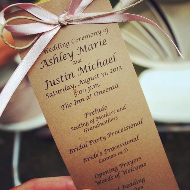 DIY Wedding Programs.. Card Stock, Ribbon And Twine. Easy