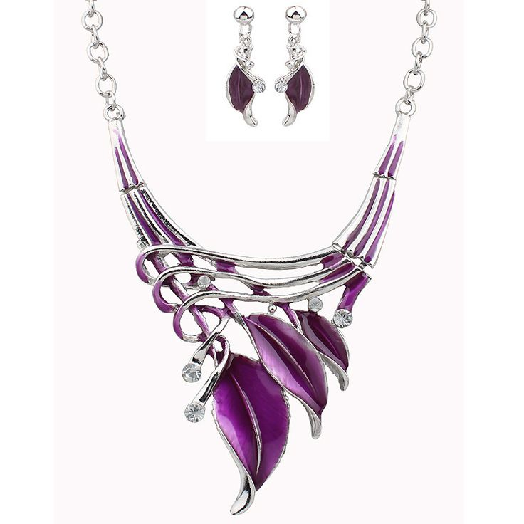 Elegant European Leaves Enamel Inlay Crystal Necklace Earrings Jewelry Set for Women at Banggood