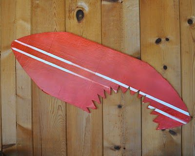 Shark bite surf board, as shark party decor
