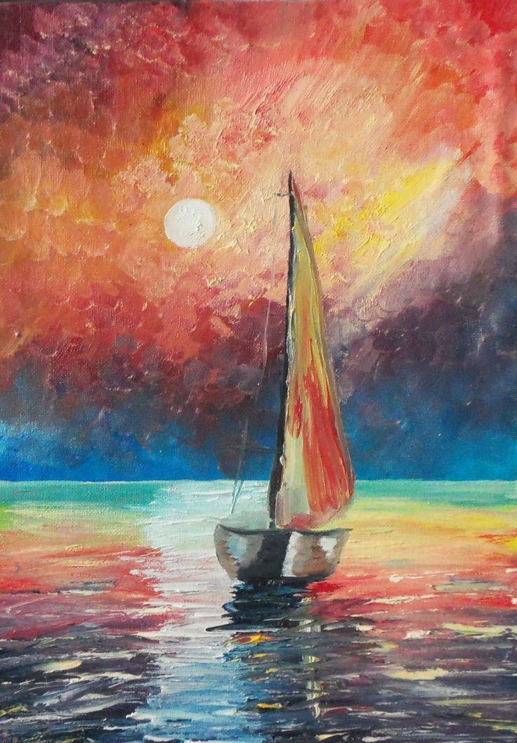 "Oil painting on canvas' Sea surf. "" картина пейзаж подарок картина маслом Painting импрессионизм бирюзовый декор для дома белый масло море морской пейзаж голубой 45.00 USD #goriani"