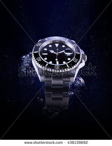 """Bangkok, Thailand - March 25, 2016: a """"Rolex Submariner 116610LN"""" luxury watch with splash water."""
