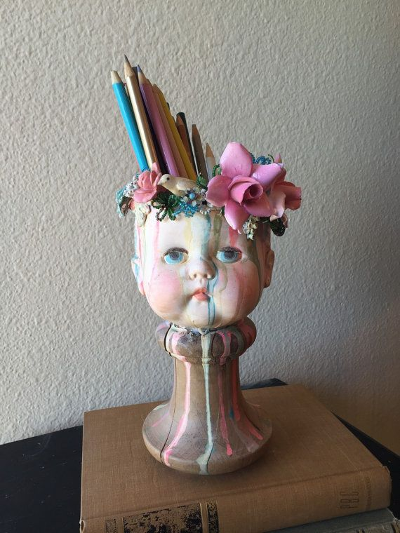 Blooming Cache Doll Head by lisaloria on Etsy