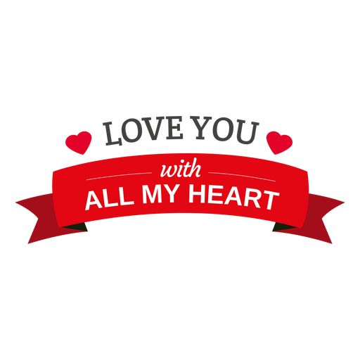 Love you heart ribbon png