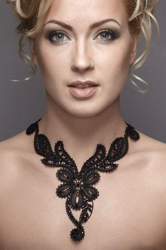 Unique Russian handmade black bobbin lace necklace, Vologda lace technique, Russian bobbin lace  6NHP-253