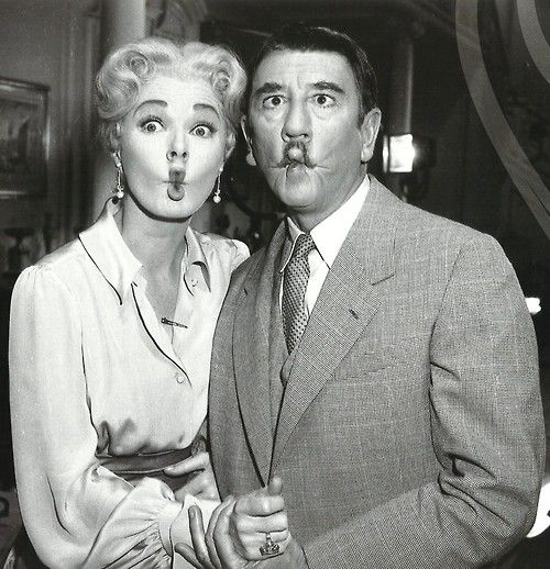 Eleanor Parker and Richard Haydn on the set of The Sound of Music...love this photo.