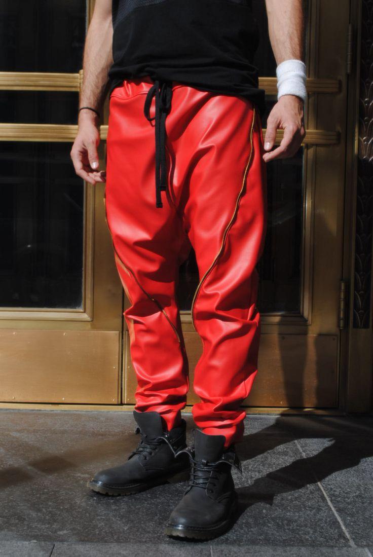 Leather Jogger Pants Men images